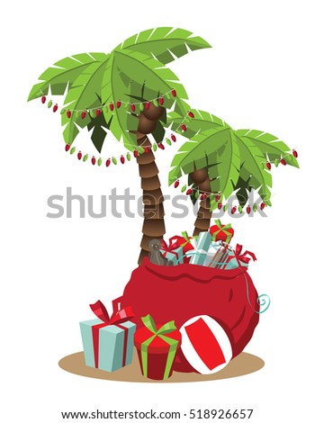 christmas in a warm climate palm tree with christmas lights and christmas gifts cartoon - Palm Tree With Christmas Lights