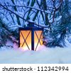 Christmas Lantern in Snow - stock photo