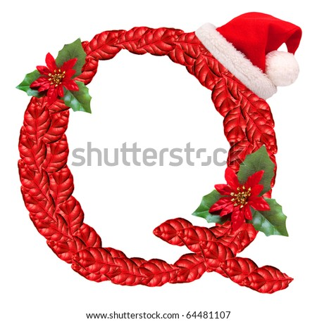 Christmas letter with Santa Claus cap. One part of great christmas alphabet.