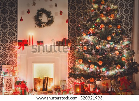 Christmas room interior design xmas tree stock photo for Christmas decorations near me