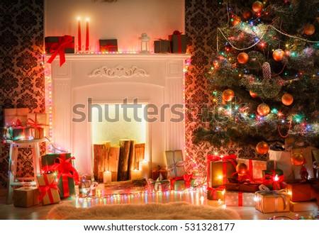 Christmas Room Interior Design Xmas Tree Stock Photo