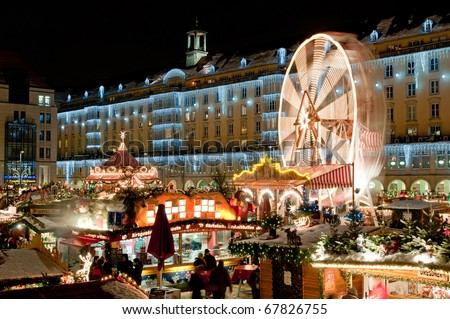 Christmas market in Dresden. It is Germany's oldest Christmas Market with a very long history dating back to 1434.