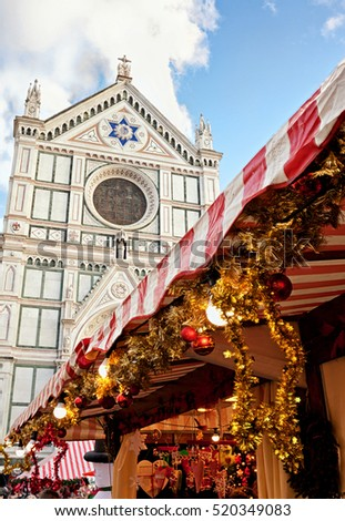 Christmas Markets in Piazza Santa Crore, Florence , Italy.