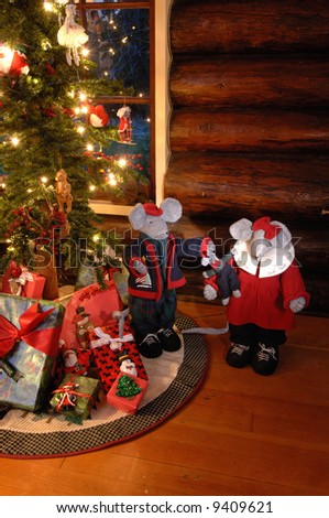christmas mice by an old fashioned looking christmas tree in log cabin - Old Fashioned Christmas Tree Lights