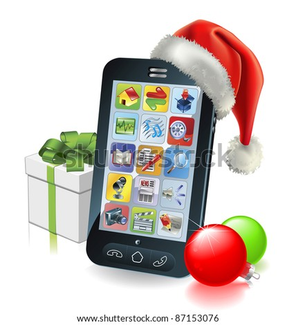 Christmas mobile phone with Santa hat gift and baubles