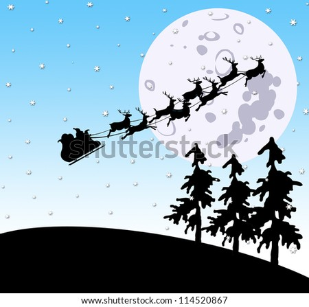 Christmas night scene with Santa and sleigh riding towards the moon ...