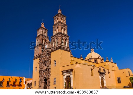 Christmas Parroquia Cathedral Dolores Hidalgo Mexico. Where Father Miguel Hidalgo made his Grito de Dolores starting the 1810 War of Independence in Mexico.  Cathedral built in the 1700s.