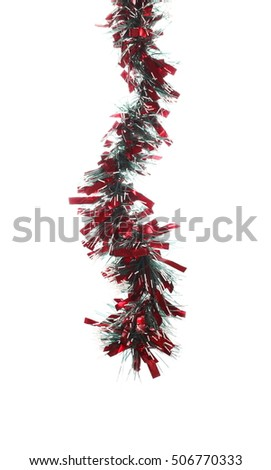 Christmas red and green tinsel, isolated on white background