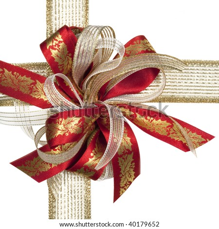 Red Gold Christmas Ribbon Bow Holly Stock Photo 59256340 ...