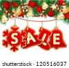 Christmas Sale Tags on christmas signs. - stock photo