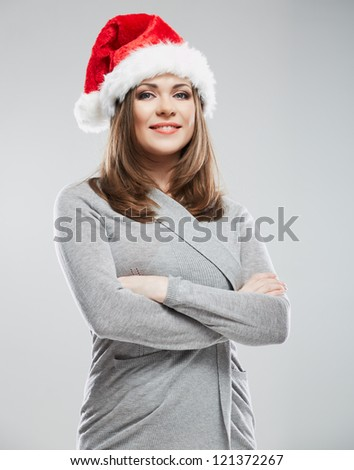 Christmas Santa hat isolated woman portrait. Female smiling model