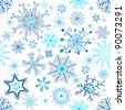 Christmas seamless white pattern with blue snowflakes - stock photo