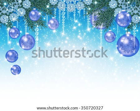 Christmas sparkling background with garlands and balls
