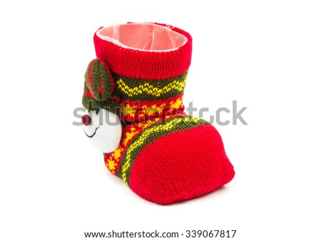 Christmas stocking with a snowman on a white background