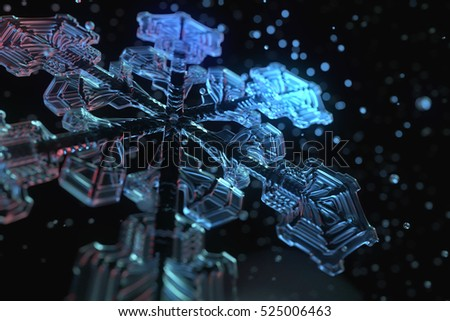 Christmas theme 3d illustration of transparent detailed snowflake. Winter element on the black background. 3d generated snowflake model with depth of field and glass spheres around.