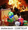 Christmas toys and decorations in wooden box on the background - stock photo