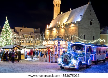 Christmas train near christmas market in old city of  Tallinn, Estonia