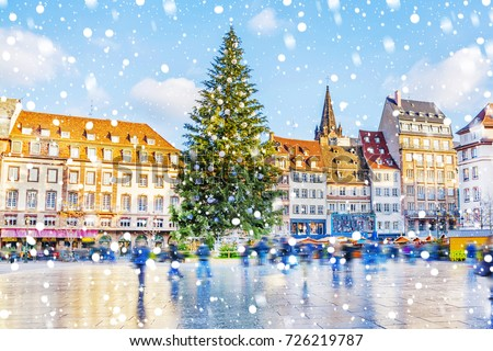 Streets Medieval City Strasbourg Decorated Christmas Stock Photo  - Medieval Christmas Tree