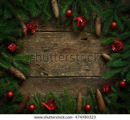 Christmas decorations fir tree branch on stock photo for Fir cone christmas tree decorations