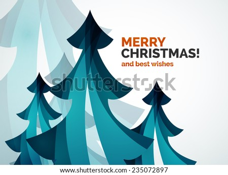 Christmas tree geometric design, modern simple shapes winter concept