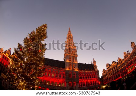 Christmas tree in Grand Place, Brussels, Belgium