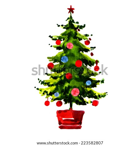 Christmas tree with balls isolated