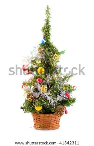 Christmas tree with decoration isolated on a white background