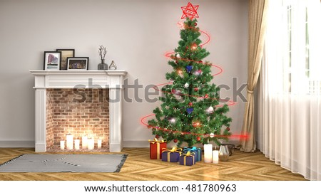 Christmas Tree With Decorations In The Living Room. 3d Illustration Part 68