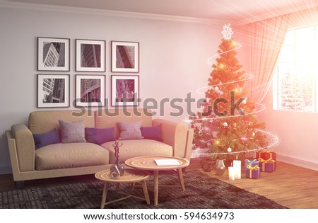 Fantastic Christmas Decorations Living Room Illustration - Living ...