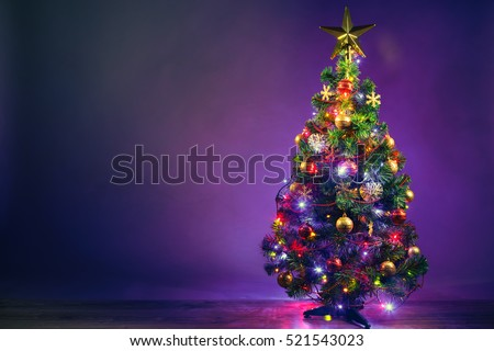 Christmas tree with lights garland