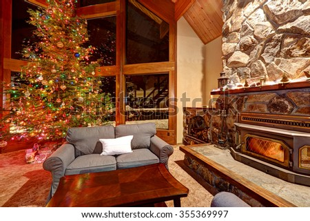 Luxury Interior Home Library Sitting Room Stock Photo