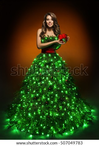 Christmas Family Open Present Gift Bag Stock Photo