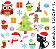 Christmas vector cute elements set. Raster version. - stock photo
