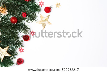 Christmas white background view with tree and decoration