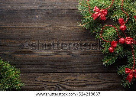Christmas Wooden Background With Tree And Red Decorations Wreath Rustic Wood