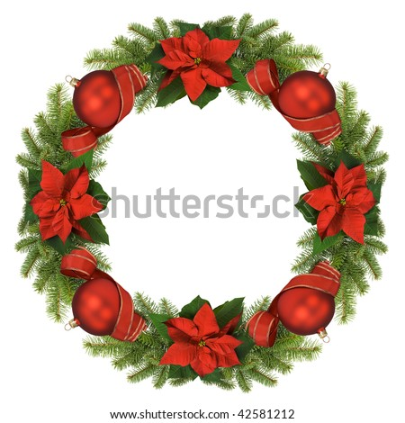 Christmas wreath isolated on white background.