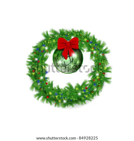 Christmas wreath with red bow and bright ball over white background