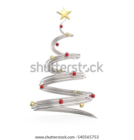 Chrome cone shapes Christmas tree with red and gold decoration balls on white background. 3D rendering.