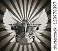 chromed motorcycle engine with wings sepia toned vintage background. high resolution 3d image - stock photo