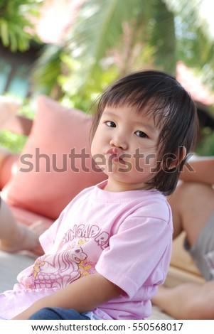 Sad Princess Little Girl Looking Little Stock Photo