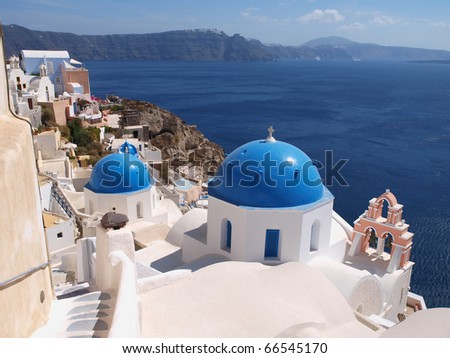 Church in Ia town in Santorini island, Greece