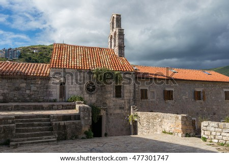 Church of Holy Virgin Mary in center of old town of Budva, Montenegro.