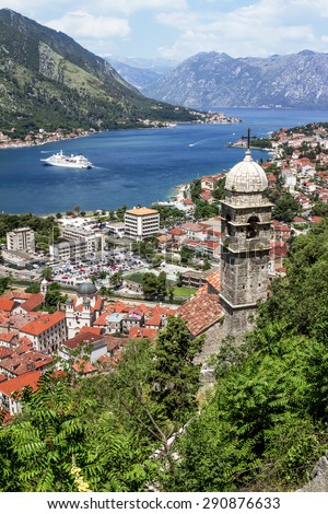 church of Our Leady of Remedy in Kotor.Montenegro.View from the ramparts of the bay and the old town