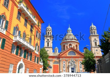 Church of Santa Maria Assunta surrounded by traditional buildings in Genoa, Italy