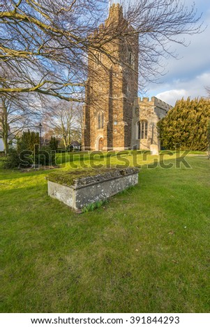 Church of St Mary the Virgin (St Mary's Church) with beautiful sky during golden hour in Harlington, England