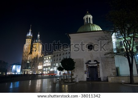 Churches of St Mary and St Adalbert on the Krakow main square at night