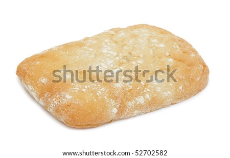 Ciabatta (Italian bread), isolated on a white background