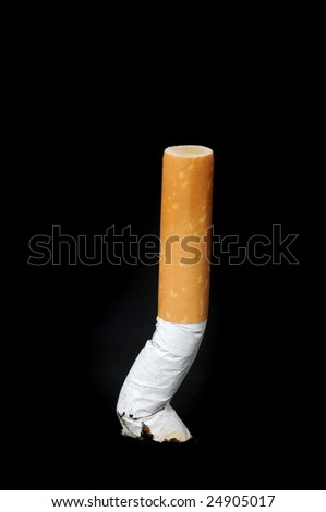 Cigarette in front of a black background