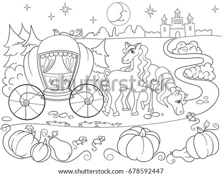 Cinderella Fairy Tale Coloring Book For Children Cartoon Raster Illustration Black And White
