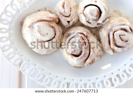 cinnamon rolls on the table, top view